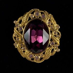Purple Gold Toned Pin Brooch Napier Rhinestone